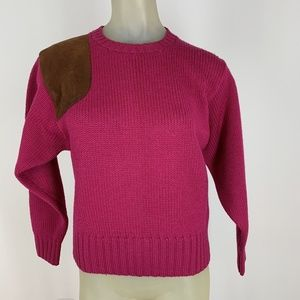 Ralph Lauren sweater Wool pink Faux Suede Patches